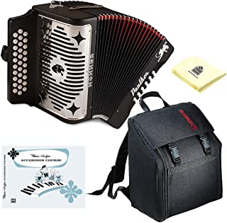 Hohner Panther 3100GB G/C/F 3-Row Diatonic Accordion Package with Free Gig Bag GCF Black | Alfred's Teach Yourself to Play Accordion (Book) and Zorro Sounds Accordion Polishing Cloth