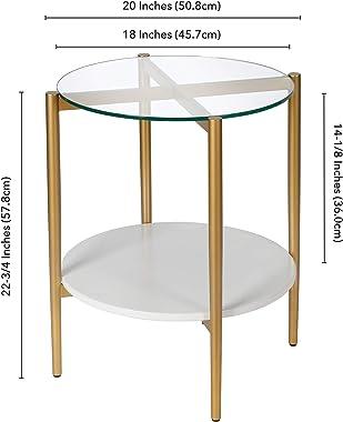 "Henn&Hart ST0274 Brass Lacquer Shelf for Living Room/Bedroom Side Table, 22.75"" H x 20"" L x 20"" W, Gold/White"