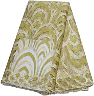 Lace Fabric African Lace Fabric with Stones African Fabric African Lace Fabric (Color : LIGHT YELLOW, Size : 5YARDS)