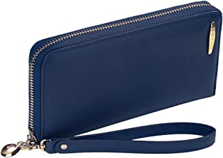Clutch Wallet, COCASES RFID Protection Women Premium PU Leather Zipper Handbag for 2 Cell Phones, Cash and Cards with Coin Pocket and Wristlet (Navy Blue)