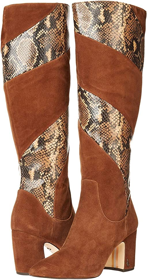 Toasted Coconut Lucca Suede Leather/Tropical Snake Print Leather