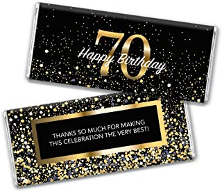 Milestone 70th Birthday Favors Chocolate Bar Wrappers (24 Count)