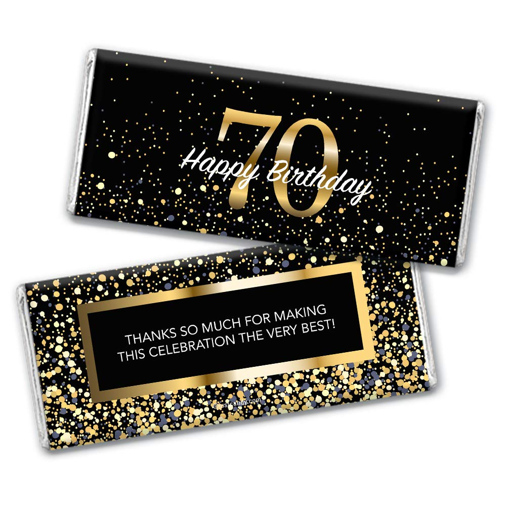 Max 60% OFF Milestone 70th Birthday Favors Chocolate Count Complete Free Shipping Bar 24 Wrappers