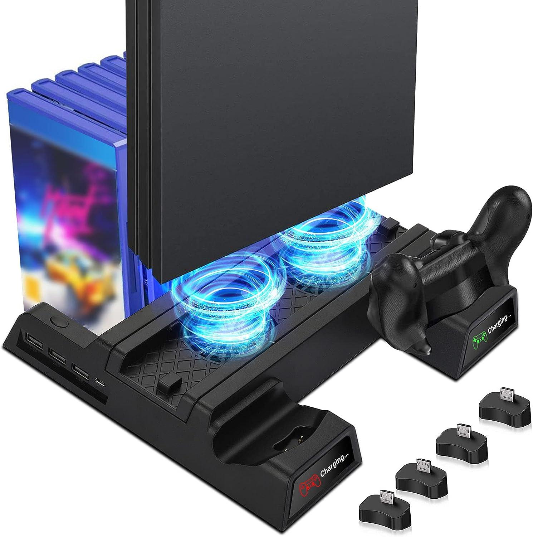 EEEKit Ventilador de refrigeración para PS4, Soporte Vertical con 2 Estaciones de Carga del Controlador y 12 Almacenamiento de Juegos Compatible con Playstation PS4, PS4 Slim, PS4 Pro