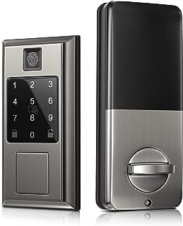 قفل هوشمند درب امنیتی با تشخیص اثر انگشت ، قفل درب هوشمند بلوتوث Oasbike ، صفحه کلید صفحه لمسی ، قفل درب ورودی بدون کلید با قفل خودکار ، با Amazon Alexa کار می کند