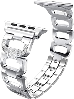 PUGO TOP Compatible with Apple Watch Band 42mm 44mm Series 5 4 3 2 1 Iwatch Band iPhone Watch Bracelet Bangle Link Strap Stainless Steel with Bling Rhinestones for Women(42mm/44mm, Silver)