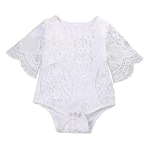 8da0df95b GRNSHTS Infant Baby Girls White Hollow Ruffles Sleeve Lace Romper Sunsuit  Bodysuit