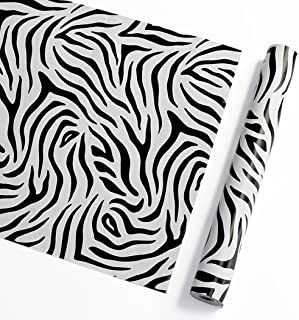 GLOW4U Self Adhesive Vinyl Zebra Stripes Contact Paper Decorative Shelf Liner for Cabinets Drawer Dresser Arts and Crafts Decor 17.7x78.7 Inches