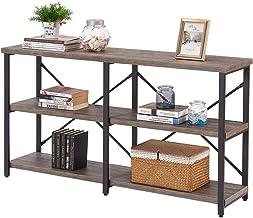 BON AUGURE Rustic Console Sofa Table, Industrial Long Hallway/Entryway Table, 3 Shelf..