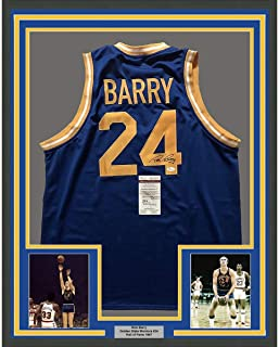 Framed Autographed/Signed Rick Barry 33x42 Golden State Blue Basketball Jersey JSA COA