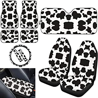 UNICEU White Cow Animal Print Auto Accessories Set,Universal Front Bucket Seat Covers,Car Steering Wheel Cover,Carpet Floor Mats,Seat Belt Pads,Armrest Pad,Windshield Sunshade,Fit for Most Cars