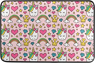JSTEL Nonslip Door Mat Home Decor, Cartoon Cute Unicorn with Stars Durable Indoor Outdoor Entrance Doormat 23.6 X 15.7 Inches