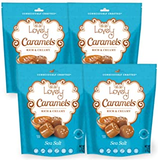 Soft and Chewy Sea Salt Caramels (4-Pack) - Lovely Co. 6 oz. Bags - Old Fashioned Style, Authentic Caramel Candies - Non-GMO, Soy & HFCS- Free, Gluten-Free and Kosher!