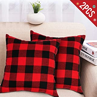 AerWo 2pcs Christmas Pillow Covers 18 x 18 Inches, Decorative Red and Black Buffalo Plaid Pillow Covers Home Sofa Cushion Case Cotton Linen for Farmhouse Home Decor