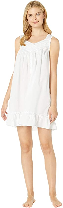Cotton Woven Sheer Stripe Short Chemise