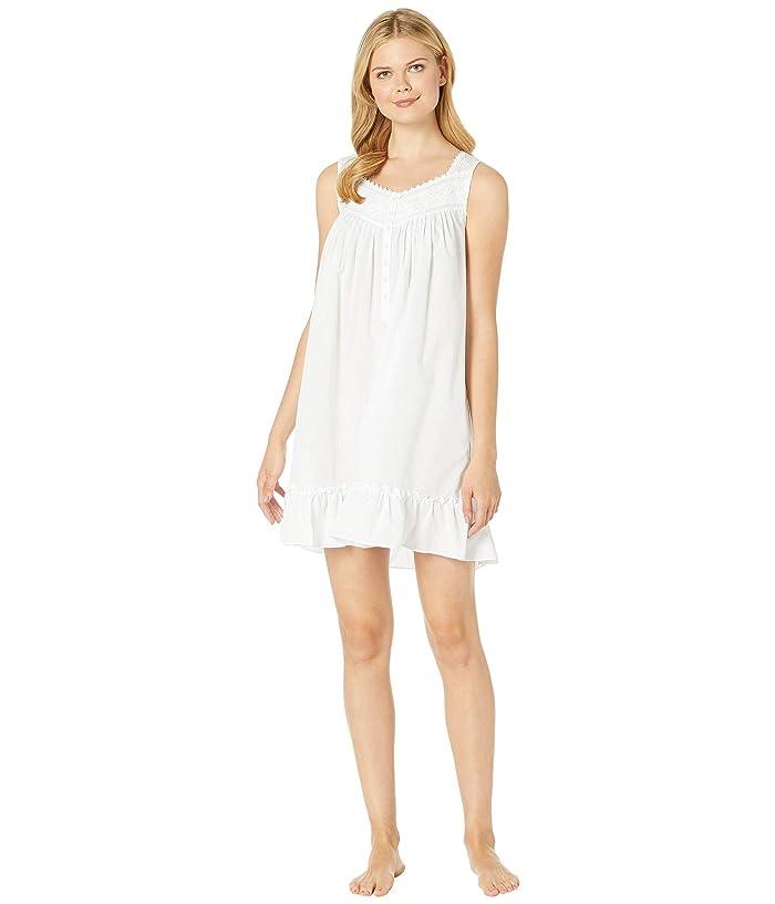 Eileen West Cotton Woven Sheer Stripe Short Chemise (Solid White) Women