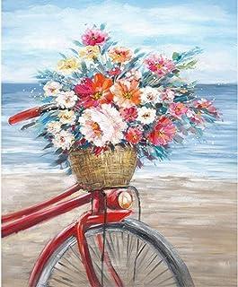 لوحة فنية يدوية الصنع بالأرقام، مجموعة لوحة زيتية قماشية رقمية، لوحة ديكور لغرفة المعيشة بالمنزل 40 × 50 سم (دراجة)