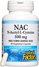 Natural Factors, N-Acetyl-L-Cysteine 500 mg, Antioxidant Support to Defend Against Polluted Environments, 90 Capsules (90 Servings)