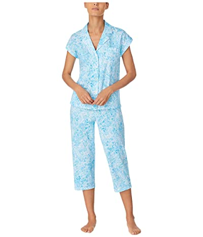 LAUREN Ralph Lauren Classic Knits Dolman Sleeve Notch Collar Capri Pants Pajama Set (Blue Print) Women