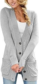 Women Open Front Pocket Cardigan Sweater Button Down Knit Sweater Coat