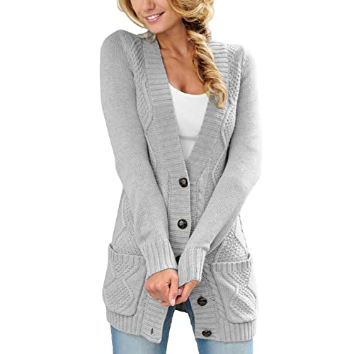 0d1202aaeb47 Sidefeel Women Open Front Pocket Cardigan Sweater Button Down Knit Sweater  Coat