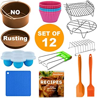 XL Air Fryer Accessories, Set of 12 for Gowise Phillips Cozyna Ninja 4.2/4.5/5.5/5.8/6.5 QT, Rust Proof 8'' Cake Barrel, Pizza Pan, Egg Bites Mold, Silicone Oil Brush, Baking Cups, FDA Approved