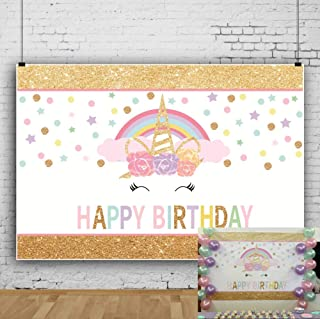 OFILA Unicorn Birthday Backdrop 7x5ft Glitters Stars Cake Smash Background Girls Birthday Party Decoration Children Portraits Family Video Studio Props