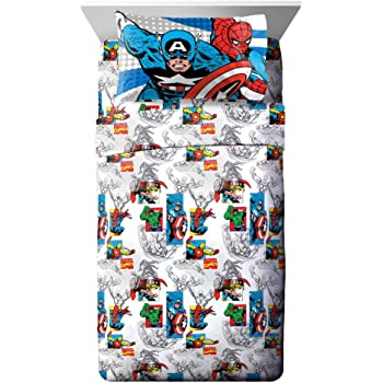 Jay Franco Comics 3 Piece Twin Sheet Set-Features Captain America, Hulk, Iron Man, Spiderman, and Thor-Fade Resistant Polyester Microfiber Fill (Official Marvel Product), Good Guys Blue