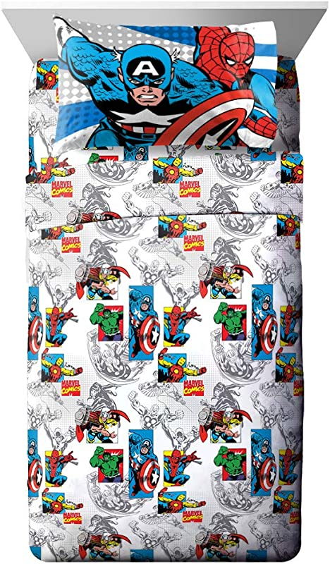 Jay Franco Comics Good Guys 4 Piece Full Sheet Set Features Captain America Hulk Iron Man Spiderman And Thor Fade Resistant Polyester Microfiber Fill Official Marvel Product Blue