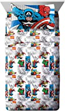 Jay Franco Comics Good Guys 4 Piece Full Sheet Set-Features Captain America, Hulk, Iron Man, Spiderman, and Thor-Fade Resistant Polyester Microfiber Fill (Official Marvel Product), Blue