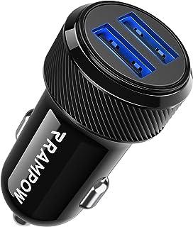 comprar comparacion RAMPOW Cargador de Coche Doble Puerto con LED, 24W 4.8A Cargador de Coche fácil de Cargar, Cargador de Coche para teléfono...