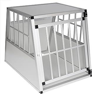 EUGAD Transport/ín de Aluminio para Perros Gatos Mascotas Jaula Transporte de Viaje para Mascotas Trapezoidal 1 Puerta Negro//Plata B54xH50xT69 cm 0003LL
