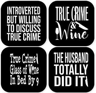 True Crime Fan Coasters (set of 4) Funny True Crime Show Documentary Serial Killer Addict Junkie Gift 4x4 Inch Present for...
