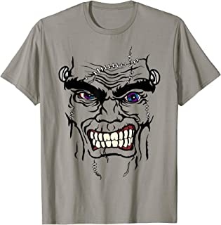 Halloween Snarling Frankenstein Face Cartoon Graphic T-Shirt