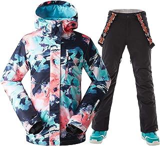 GSOU SNOW Women's Windproof Waterproof Printed Hooded Skiing Jacket Pants Suits