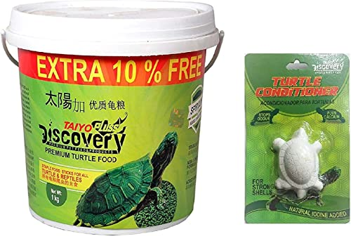 Live with Alive Taiyo Pluss Discovery Turtle Food, 1 kg (Extra 10 Percent) and Free!!! One Taiyo Turtle Conditioner.