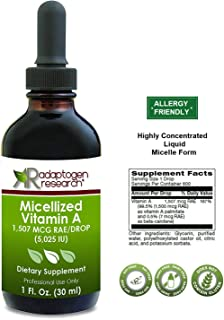 Micellized Vitamin A 1 oz | 5,025 IU Per Drop I Pure Vitamin A I Adaptogen Research