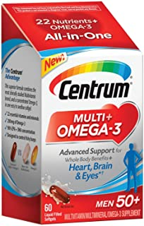 Centrum Multi + Omega-3 (60 Count, 2 Month Supply) Adult Multivitamin and Omega-3 Supplement for Men Over 50, Multivitamin Support for your Heart, Vitamins B6, B12 and Folate