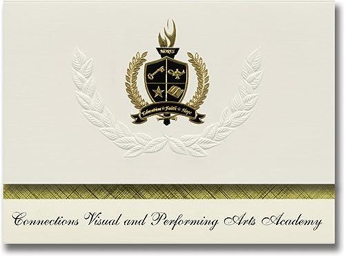Signature Announcements Connections Visual and Performing Arts Academy (Tuolumne, CA) Abschlussankündigungen, Pr dential-Gründpaket 25 mit Goldfarbener und Schwarzr Folienversiegelung