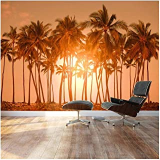 wall26 - Large Wall Mural - Beautiful Scenery/Landscape Tropical Beach with Palm Trees at Sunset | Self-Adhesive Vinyl Wallpaper/Removable Modern Decorating Wall Art - 66
