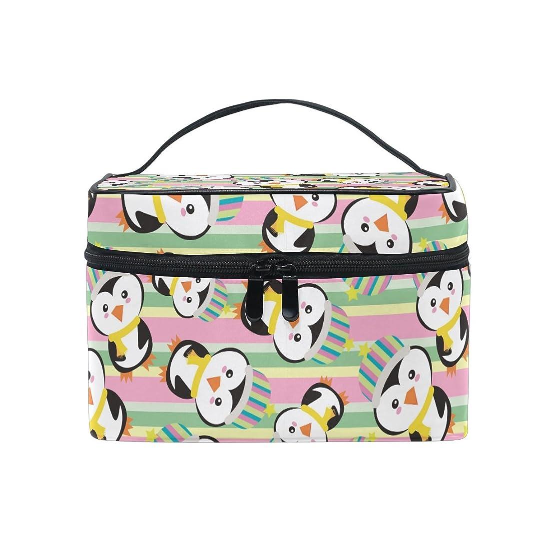 シソーラス差し迫ったに対処するストライプペンギン化粧品 バッグ オーガナイザー ジッパー メイク バッグ ポーチ トイレタリー ケース 女の子 女性用