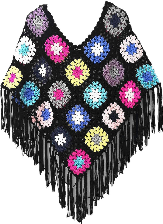 tinacrochetstudio Crochet Fringed Poncho Cape Shawls Wraps Granny Square Womens Coat Sweater