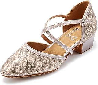 HXYOO Closed Toe Low Heel Glitter Ballroom Dance Shoes for Women Salsa Latin Wedding Party 2 inch Heel S11-1