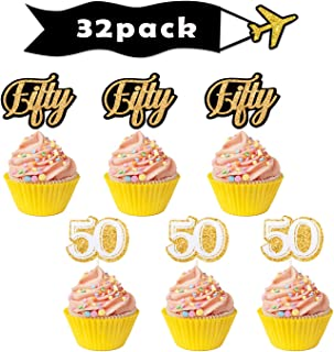 Gold 50th Fifty Cupcake Toppers - Birthday Anniversary Party Dessert Decorations Supplies - Set of 32