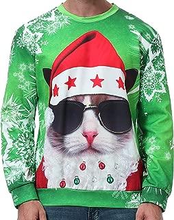 GreaSmart Unisex Funny Ugly Christmas Sweatshirt 3D Print Long Sleeve Xmas Holiday Party Pullover Sweater Sweatshirt