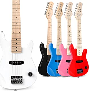 WINZZ 30 Inches Real Kids Electric Guitar with Beginner Kit, White