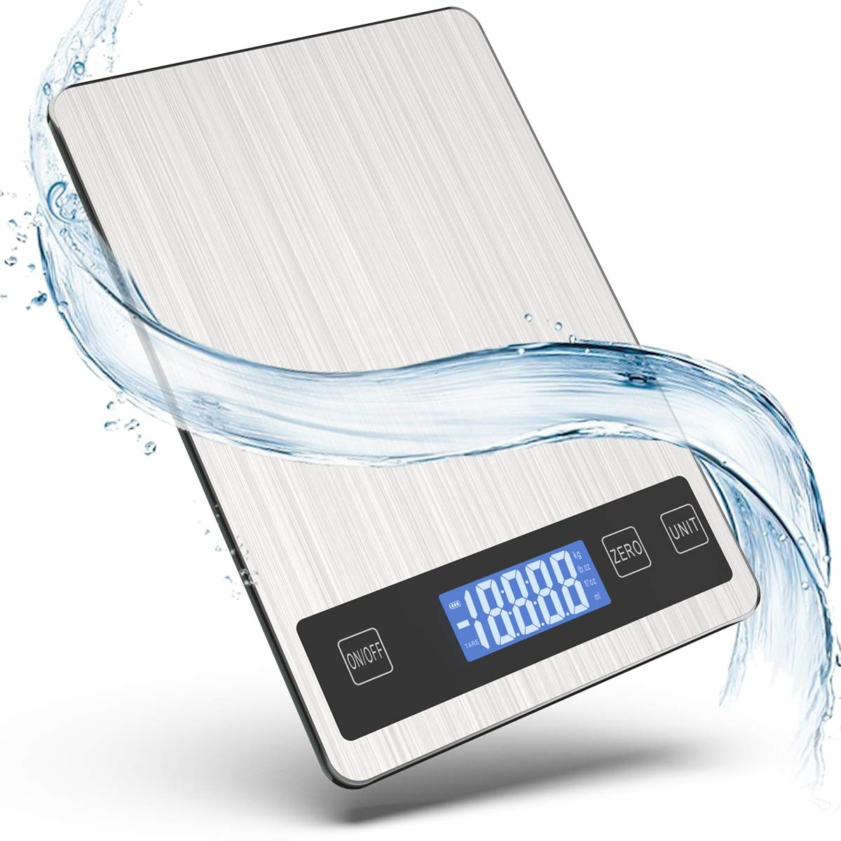 Báscula digital de cocina, báscula de cocina eléctrica, 5 kg, de acero inoxidable, con pantalla LED, tara y características, para cocina, ingredientes, joyas, drogas, café, té