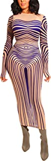 Womens Sexy Club Dresses Bodycon Sheer Mesh Long Sleeve Midi Party Dress