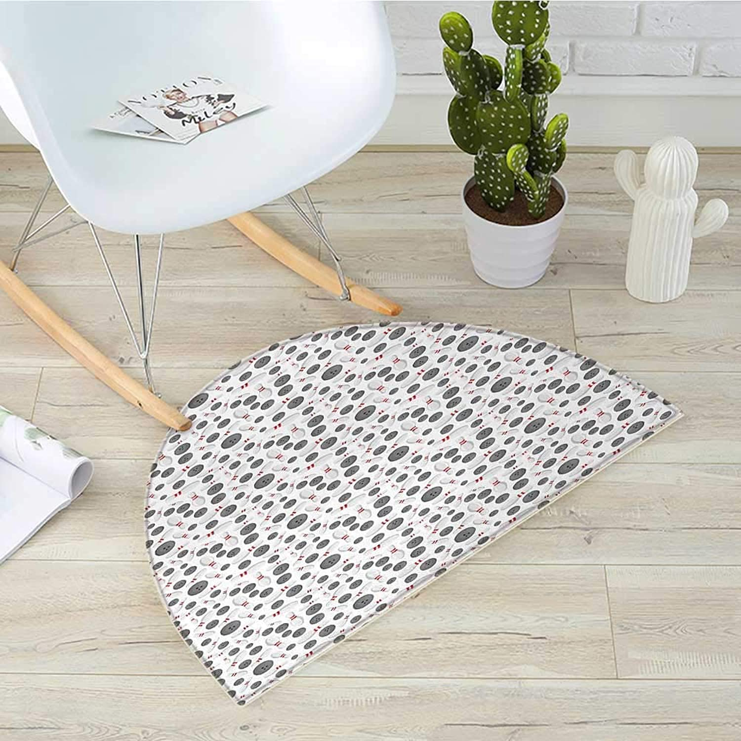 Bowling Half Round Door mats Realistic Graphic Game Icons Scattered on Plain Backdrop Competition and Fun Bathroom Mat H 31.5  xD 47.2  Grey White Red