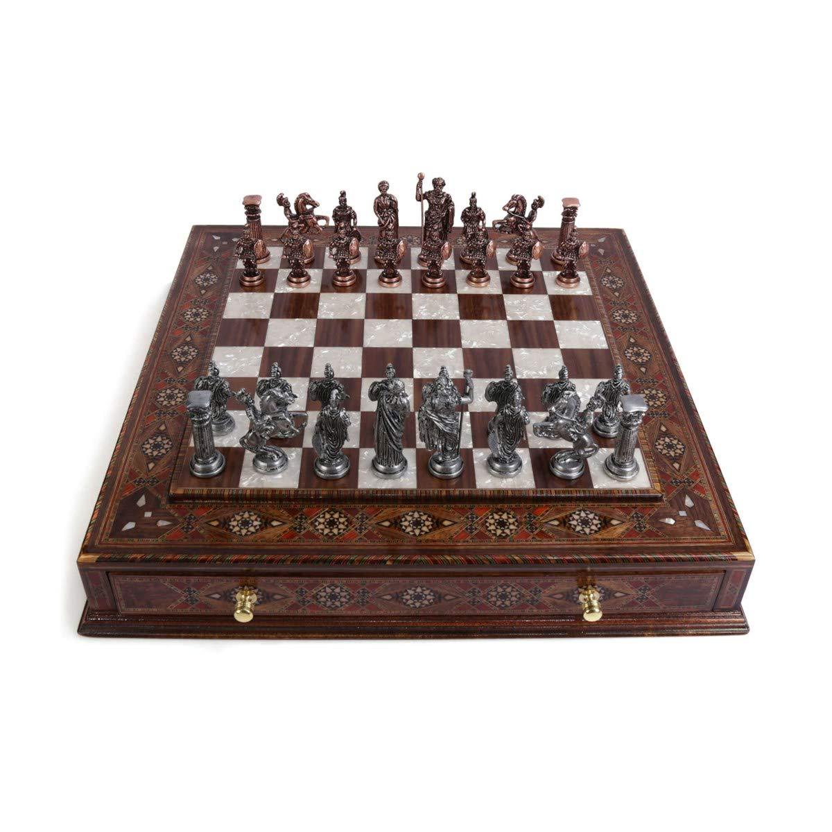 Juego de ajedrez de cobre antiguo antiguo para adultos, piezas hechas a mano,tablero de ajedrez de madera maciza natural con perlas originales alrededor de la tabla,cajón de almacenamiento dentro: Amazon.es: Hogar
